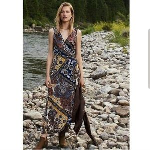 Tiny Anthro Mountaire Paisley Wrap Maxi Dress XS